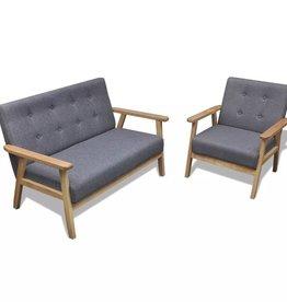 VidaXL Bankenset retro hout grijs 2 stuks