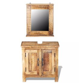 VidaXL Badkamer wastafelkast met spiegel massief mangohout
