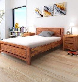 VidaXL Bedframe met kastjes massief acaciahout bruin 140x200 cm