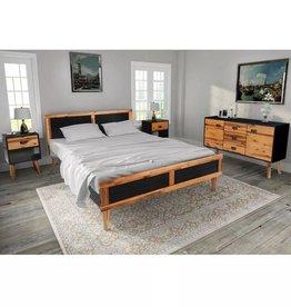 VidaXL Slaapkamer meubelset 140x200 cm massief acaciahout 4-delig