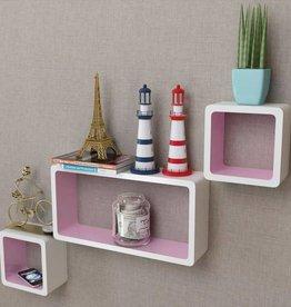 VidaXL Wandplanken kubus MDF zwevend voor boeken/dvd 3 st wit-roze