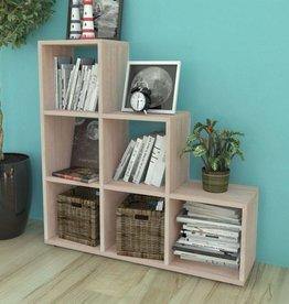 VidaXL Trapvormige boekenkast/schap 107 cm wit eikenkleurig