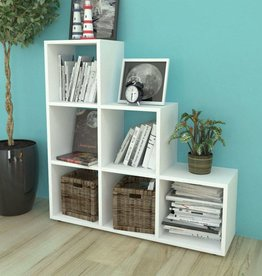 VidaXL Trapvormige boekenkast/schap 107 cm wit