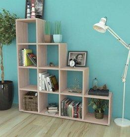 VidaXL Boekenkast/presentatiemeubel trapvormig 142 cm eikenkleur