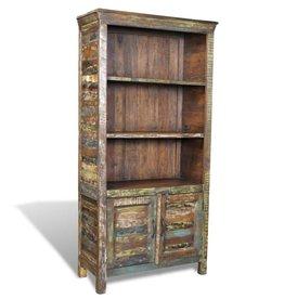 VidaXL Boekenkast gerecycled hout met 3 planken en 2 deurtjes