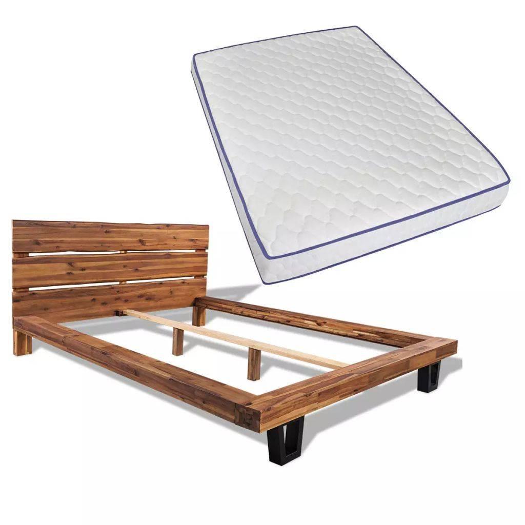 Bed 140x200 Met Matras.Vidaxl Bed Met Traagschuim Matras Massief Acaciahout 140x200 Cm