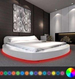 VidaXL Bed met matras en LED-verlichting 180x200 cm rond kunstleer wit