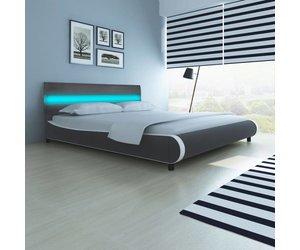 Vidaxl kunstleren bed led hoofdeinde 180 cm memoryfoammatras www