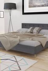 VidaXL Bed hout donkergrijze stof + traagschuim matras 200 x 180 cm