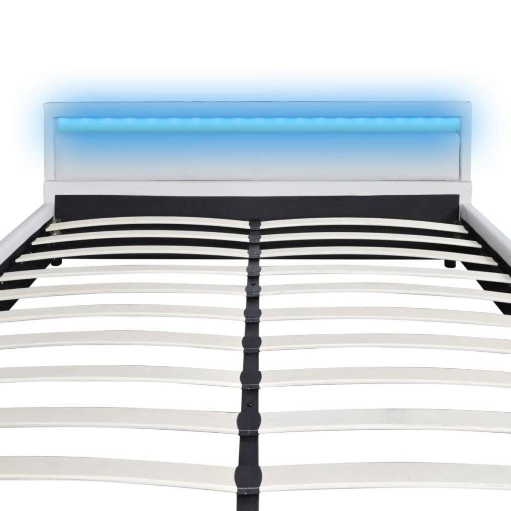 Kunstleren bed met LED strip 200 x 180 cm. met matras (wit)