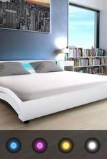 VidaXL Bedframe met LED 180x200 cm kunstleer wit