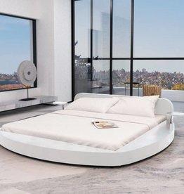 VidaXL Bedframe wit 180x200 cm rond kunstleer