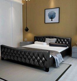VidaXL Bedframe gecapitonneerd kunstleer 180x200 cm zwart