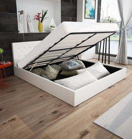 VidaXL Bedframe met gasveer 160x200 cm kunstleer wit
