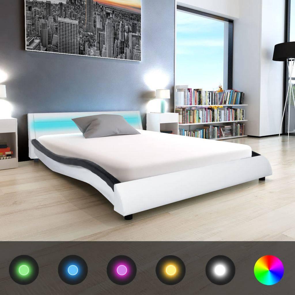 Zwart Bed 140x200.Vidaxl Bedframe Met Led 140x200 Cm Kunstleer Zwart En Wit Www