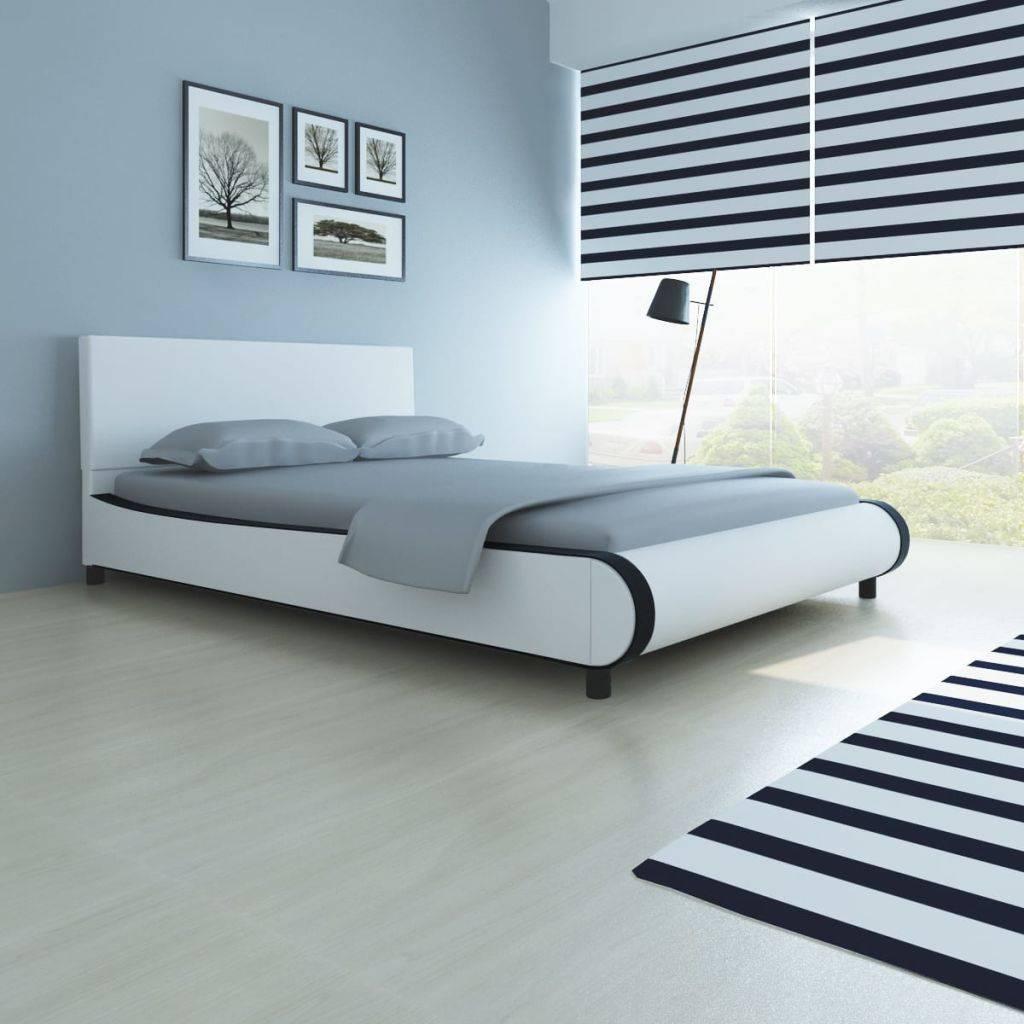 Zwart Bed 140x200.Vidaxl Bedframe Modern Kunstleer Wit Zwart 140x200 Cm Www