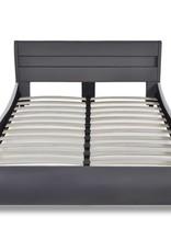 VidaXL Bed met LED hoofdeinde 140 cm kunstleer grijs