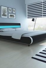 VidaXL Bed met LED hoofdeinde 180 cm kunstleer zwart