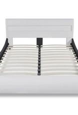 VidaXL Bed met LED hoofdeinde 140 cm kunstleer wit