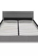 VidaXL Bed ledlampjes in hoofdeinde 200x160 cm lichtgrijze stoffen bekleding