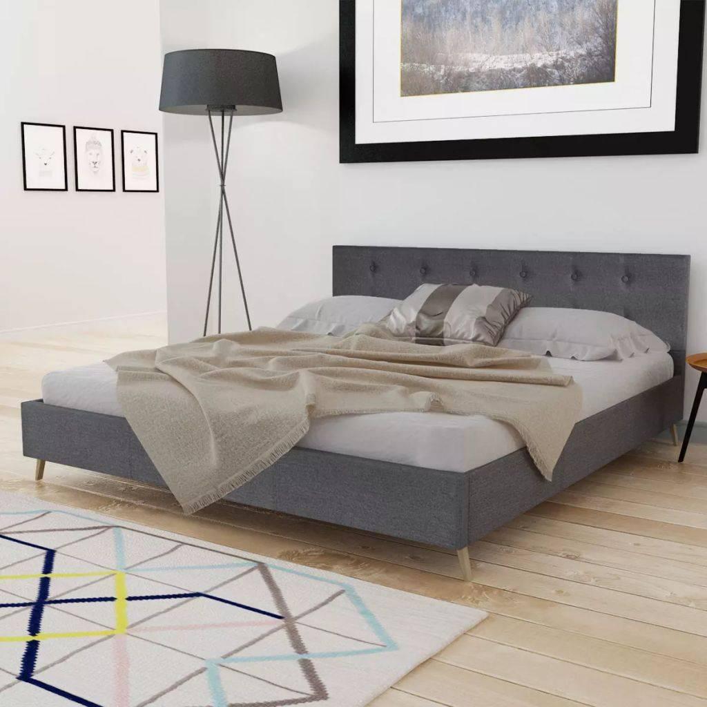 VidaXL Bed hoge kwaliteit 200x160 cm hout met donkergrijze stoffen bekleding