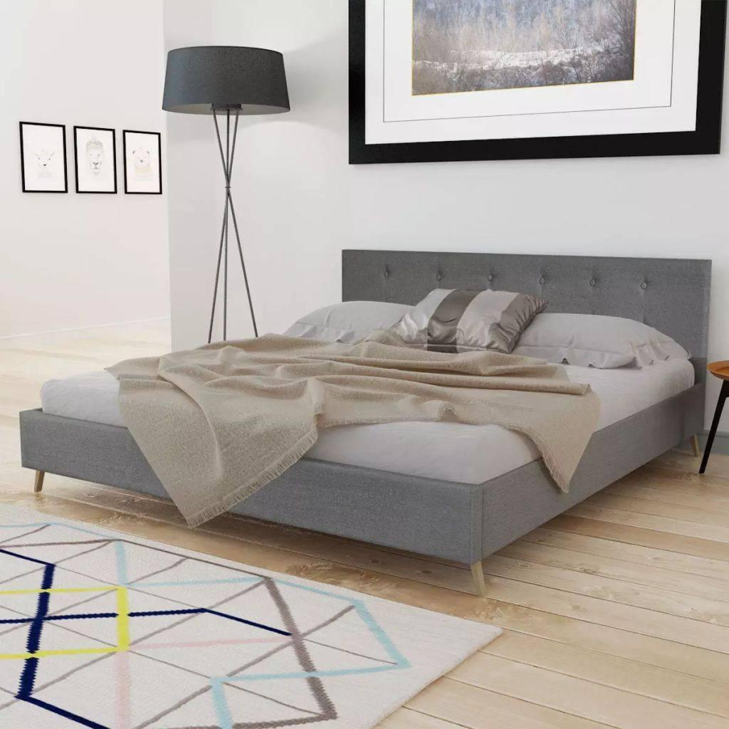 VidaXL Bedframe hout met lichtgrijze stoffen bekleding 160x200 cm