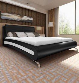 VidaXL Bedframe kunstleer met pootjes 180x200 cm zwart met wit