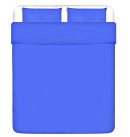 VidaXL Dekbedovertrek driedelig katoen blauw 200 x 200/80 x 80 cm
