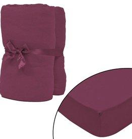 VidaXL hoeslaken 2 st katoen jersey 160 g/m2 120x200-130x200 cm rood