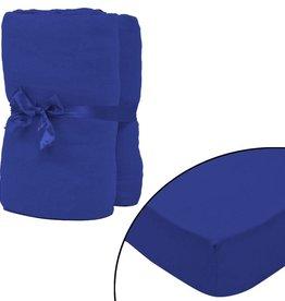 VidaXL hoeslaken 2 st katoen jersey 160 g/m2 140x200-160x200 cm blauw