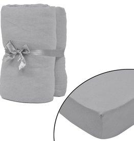 VidaXL hoeslaken 2 st katoen jersey 160 g/m2 140x200-160x200 cm grijs