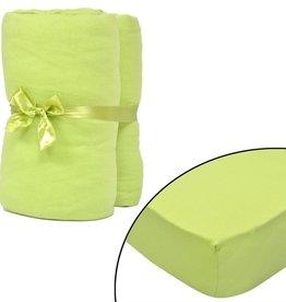 VidaXL Hoeslaken voor matras 90x190-100x200 cm katoenjersey (groen) 2 stuks