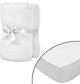 VidaXL Hoeslaken voor matras 120x200-130x200 cm katoenjersey (wit) 2 stuks