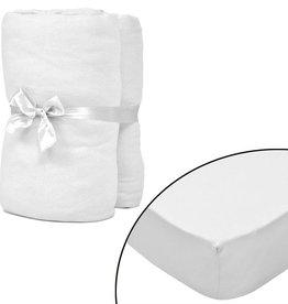 VidaXL Hoeslaken voor matras 90x190-100x200 cm katoenjersey (wit) 2 stuks