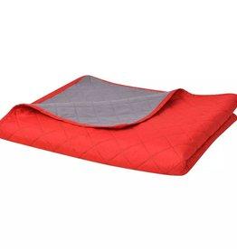 VidaXL Dubbelzijdige quilt bedsprei rood en grijs 230x260 cm