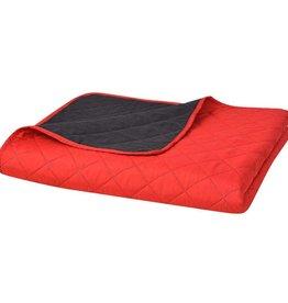 VidaXL Dubbelzijdige quilt bedsprei rood en zwart 230x260 cm