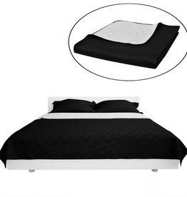 VidaXL Bedsprei gewatteerd dubbelzijdig 230x260 cm zwart/wit