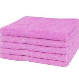 VidaXL Douchehanddoekenset 360 g/m² 70x140 cm katoen roze 5-delig