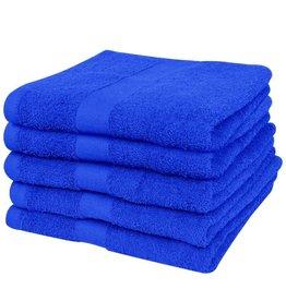 VidaXL Badhanddoekenset 500 gsm 100x150 cm katoen koningsblauw 5-delig