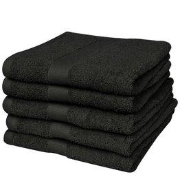 VidaXL Badhanddoek 100% katoen 500 g/m2 100 x 150 cm zwart 5 st