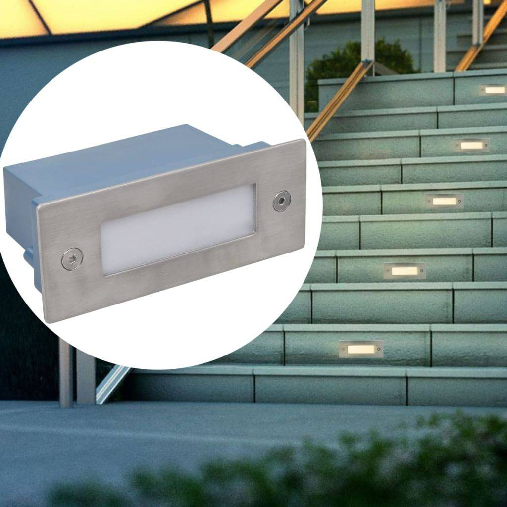 VidaXL LED verzonken traplamp 6 st 44x111x56 mm