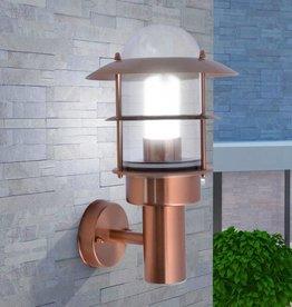 VidaXL Wandlamp voor buiten koperkleuring roestvrij staal