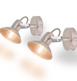 VidaXL Wandlampen voor 2 peertjes E14 zilver 2 st