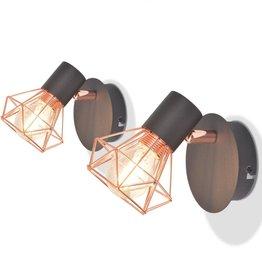 VidaXL Wandlampen met 2 filament LED-lampen 8 W 2 st