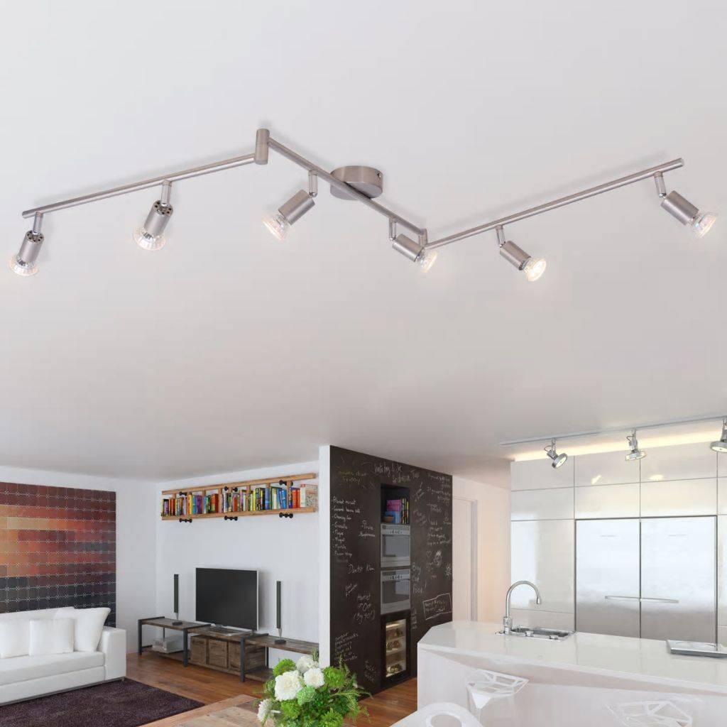 VidaXL plafondlamp met 6 led-spotlights satijn nikkel