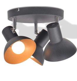 VidaXL Plafondlamp voor 3 peertjes E27 zwart en goud