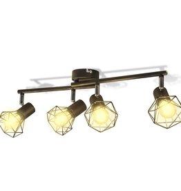 VidaXL Lamp in industriële stijl met 4 LED spotjes, zwart