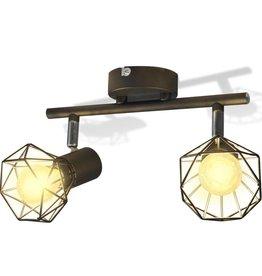 VidaXL Lamp in industriële stijl met 2 LED spotjes, zwart