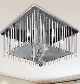 VidaXL Plafondlamp met glazen stroken (vierkant / kristal)