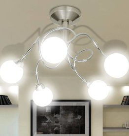 VidaXL Plafondlamp met ronde glazen kapjes (5 x G9)